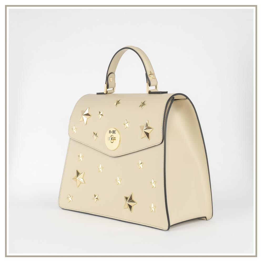 Leather handbag S126-BEIGE