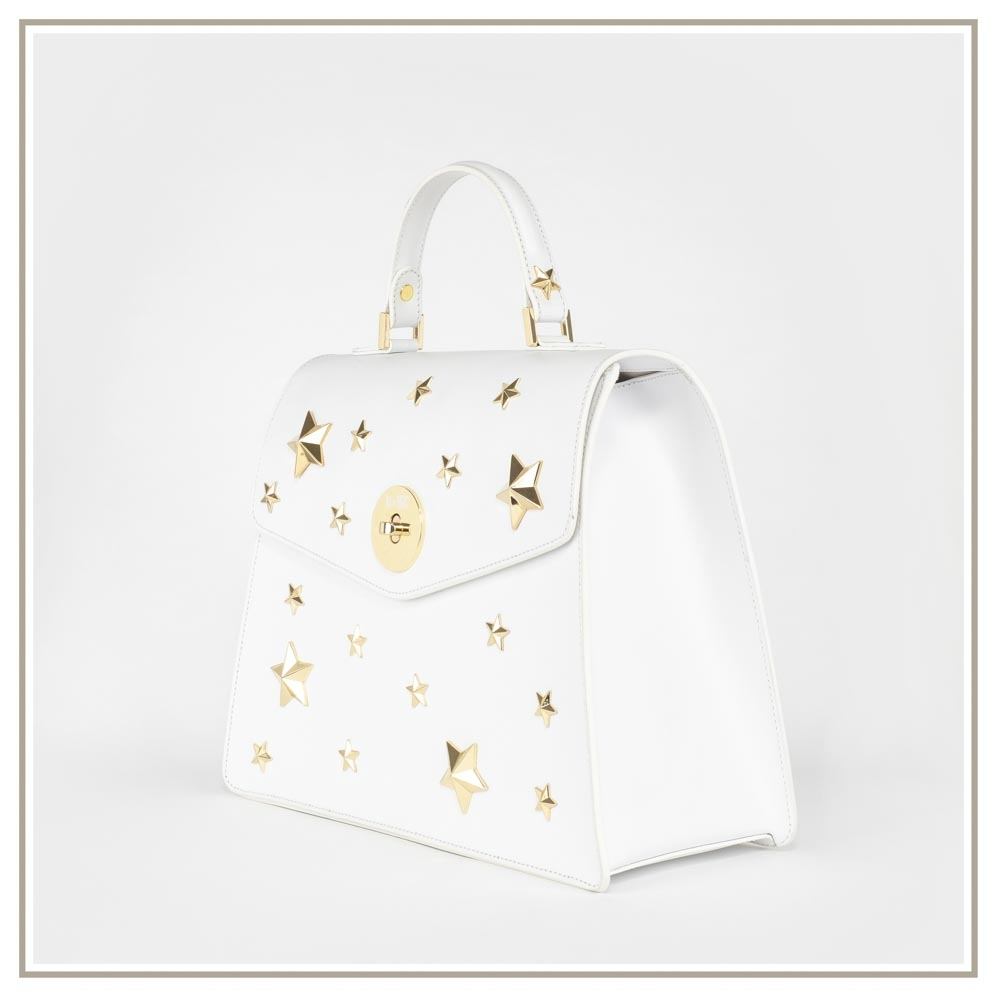 Leather handbag S126-BIANCO