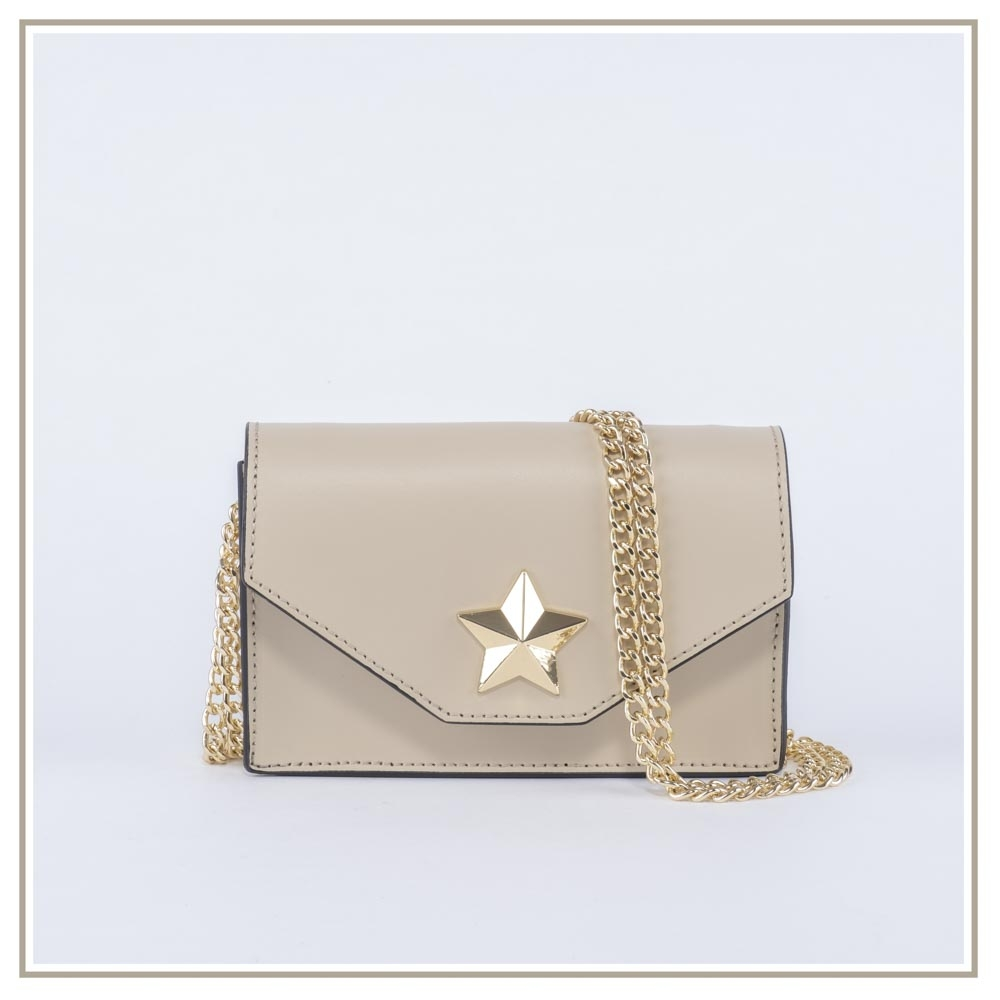 Leather shoulder bag S131-BEIGE