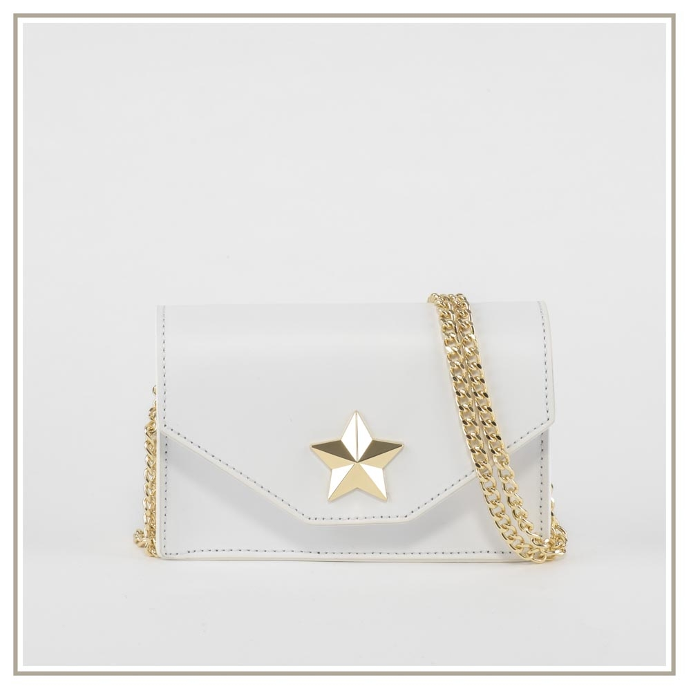 Leather shoulder bag S131-BIANCO
