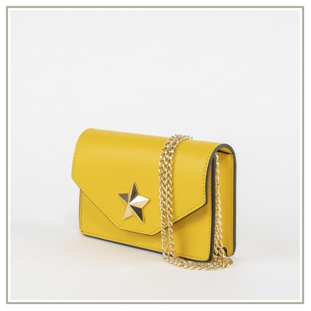 Leather shoulder bag S131-GIALLO