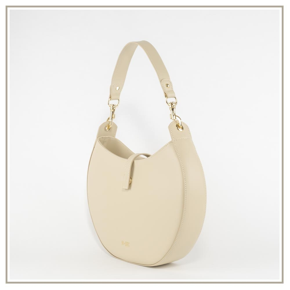 Leather shoulder bag S139-BEIGE