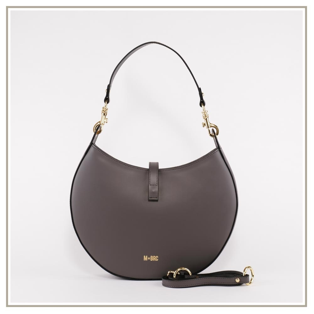 Leather shoulder bag S139-GRIGIO