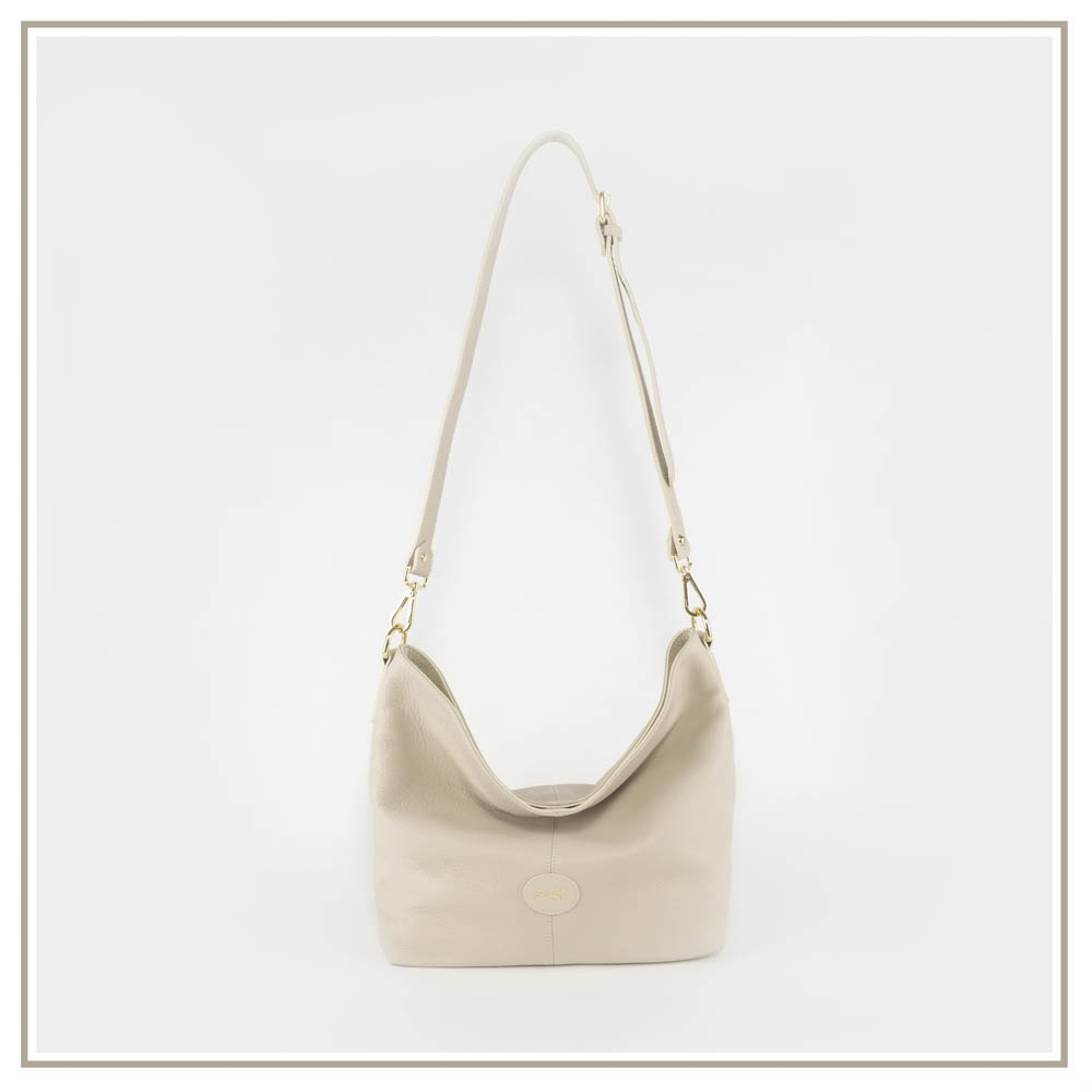 Leather shoulder bag S151-BEIGE