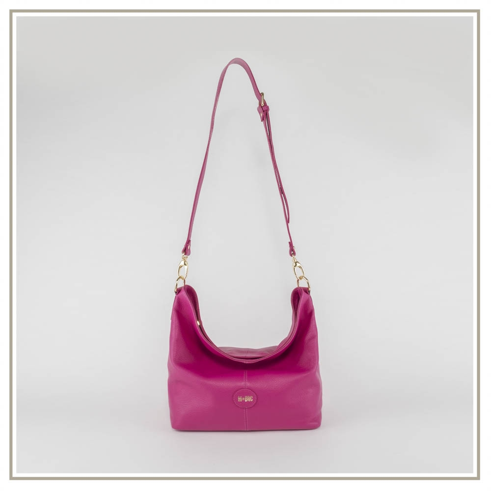Leather shoulder bag S151-FUXIA