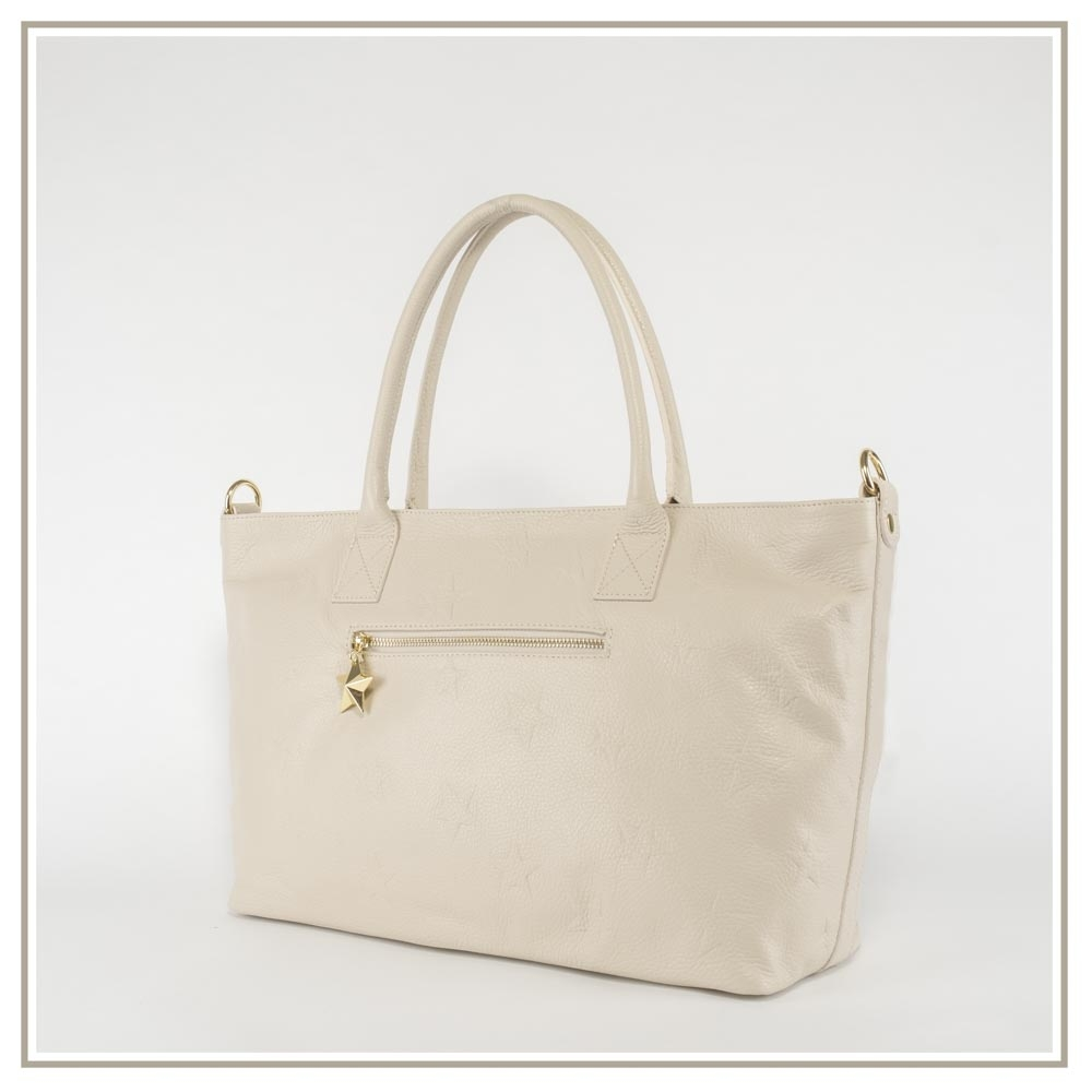 Leather shoulder bag S165-BEIGE