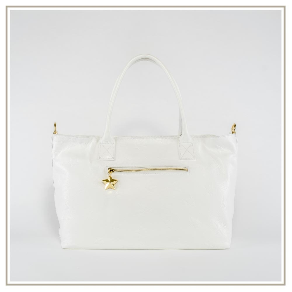 Leather shoulder bag S165-BIANCO