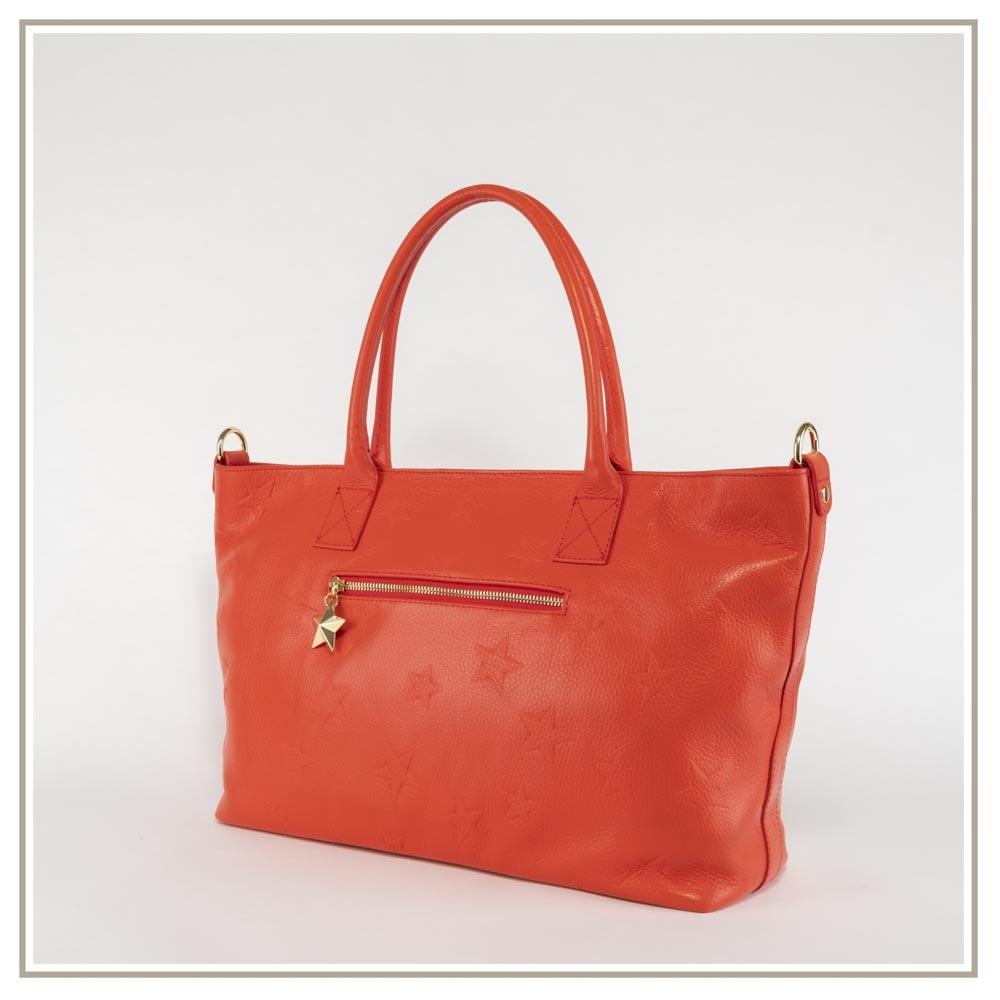 Leather shoulder bag S165-ROSSO