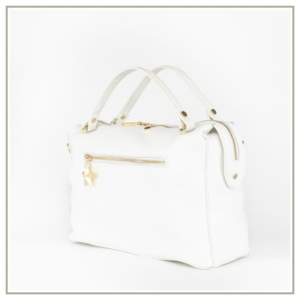 Leather handbag S169-BIANCO
