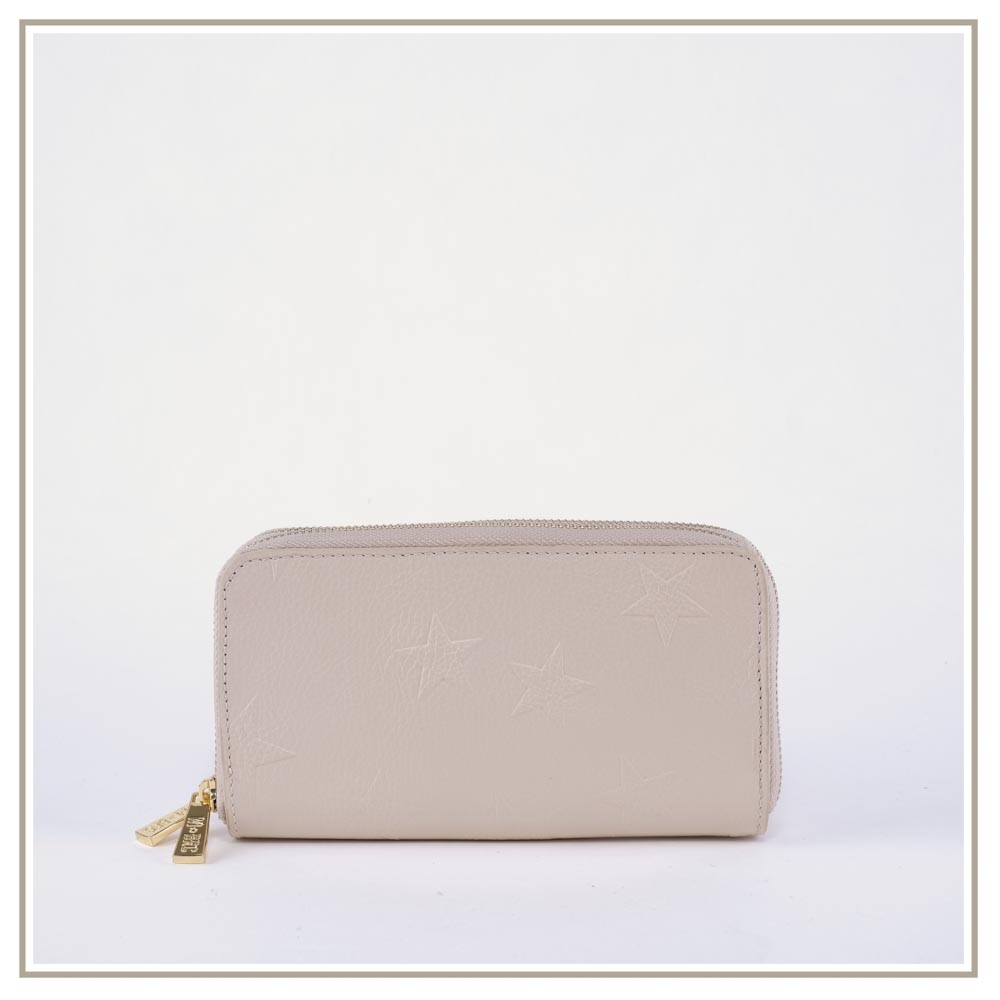 Double zip leather Wallets S170-BEIGE