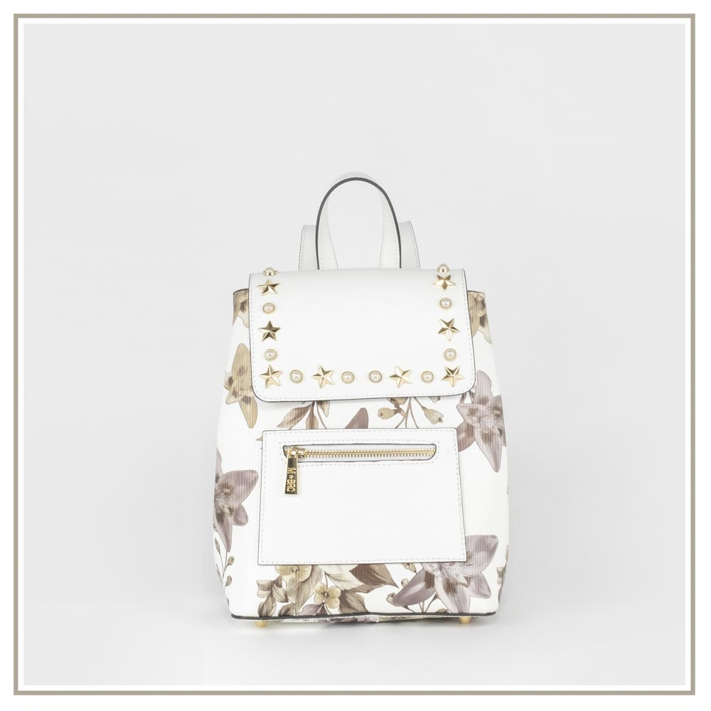 Leather backpack S194-BIANCO